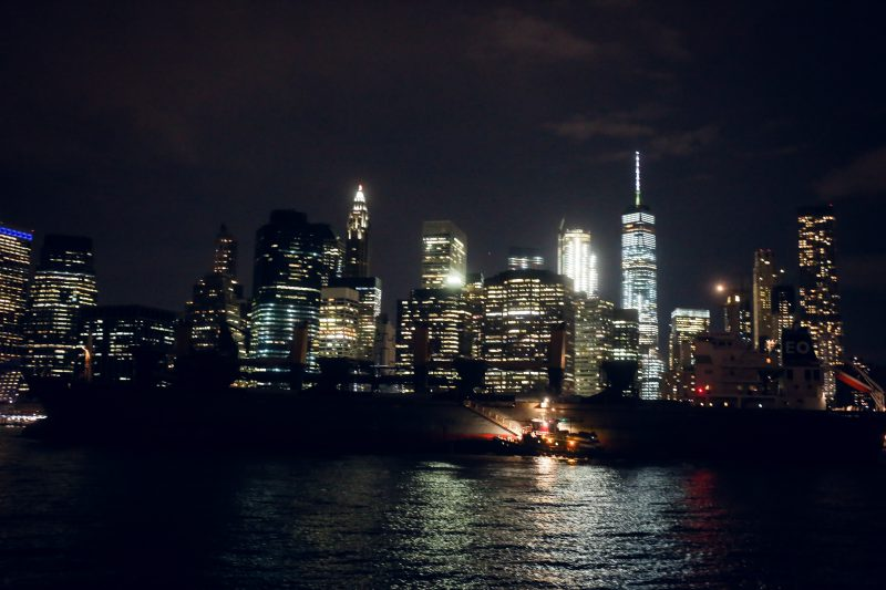 Manhattan Downtown Skyline Nacht